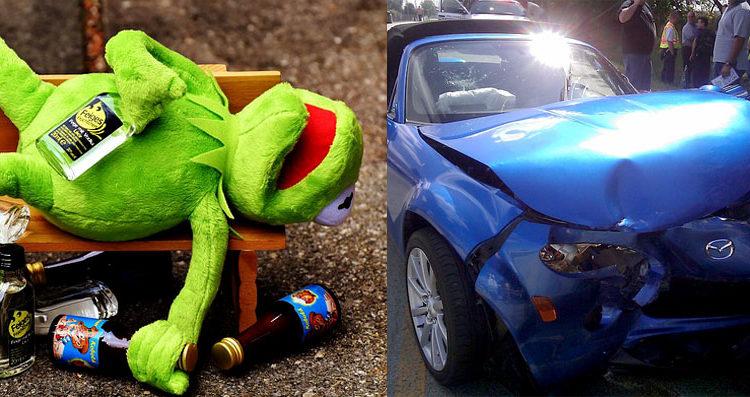 conductor ebrio destruye su auto nuevo