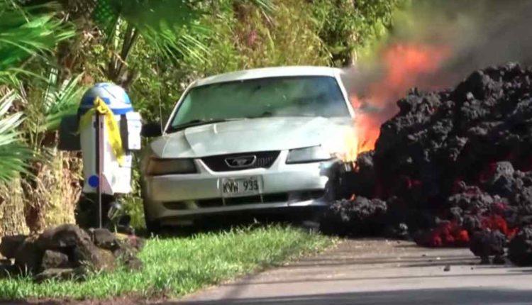 auto atrapado en lava volcan kilauea video