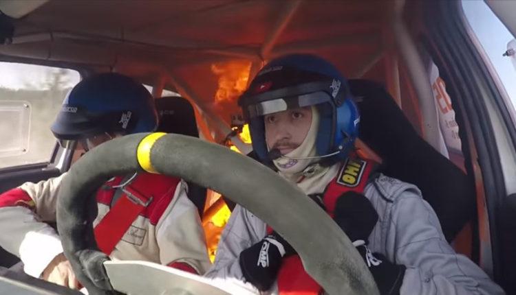 se incendia auto en rally argentina