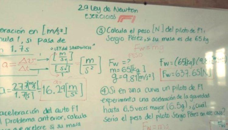 maestra enseña fisica formula 1